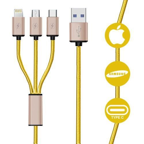 3 in 1 Fast Charging Cable Multi Braided USB Charger Cord
