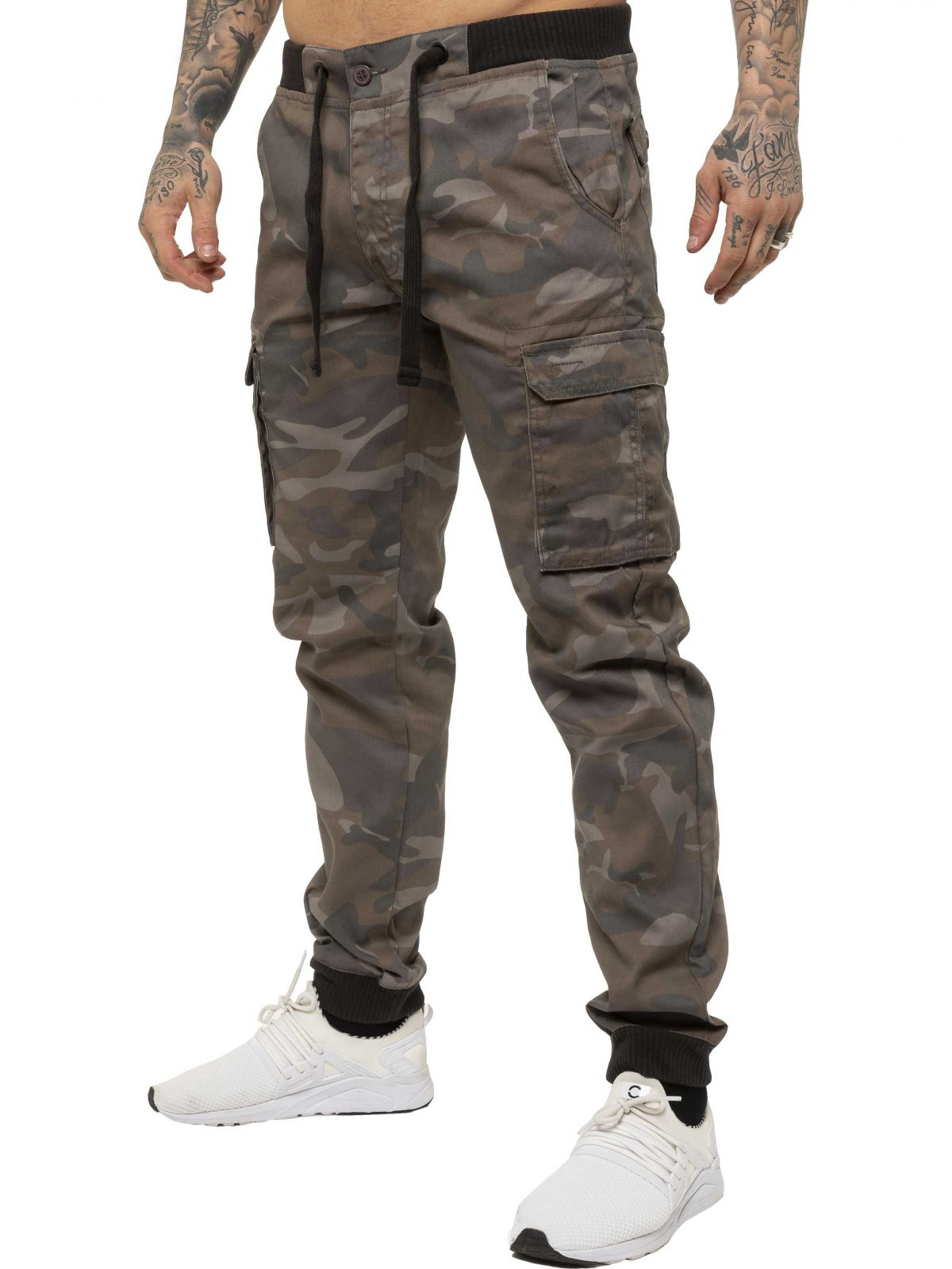 ENZO Mens Military Combat Cuffed Camouflage Jeans