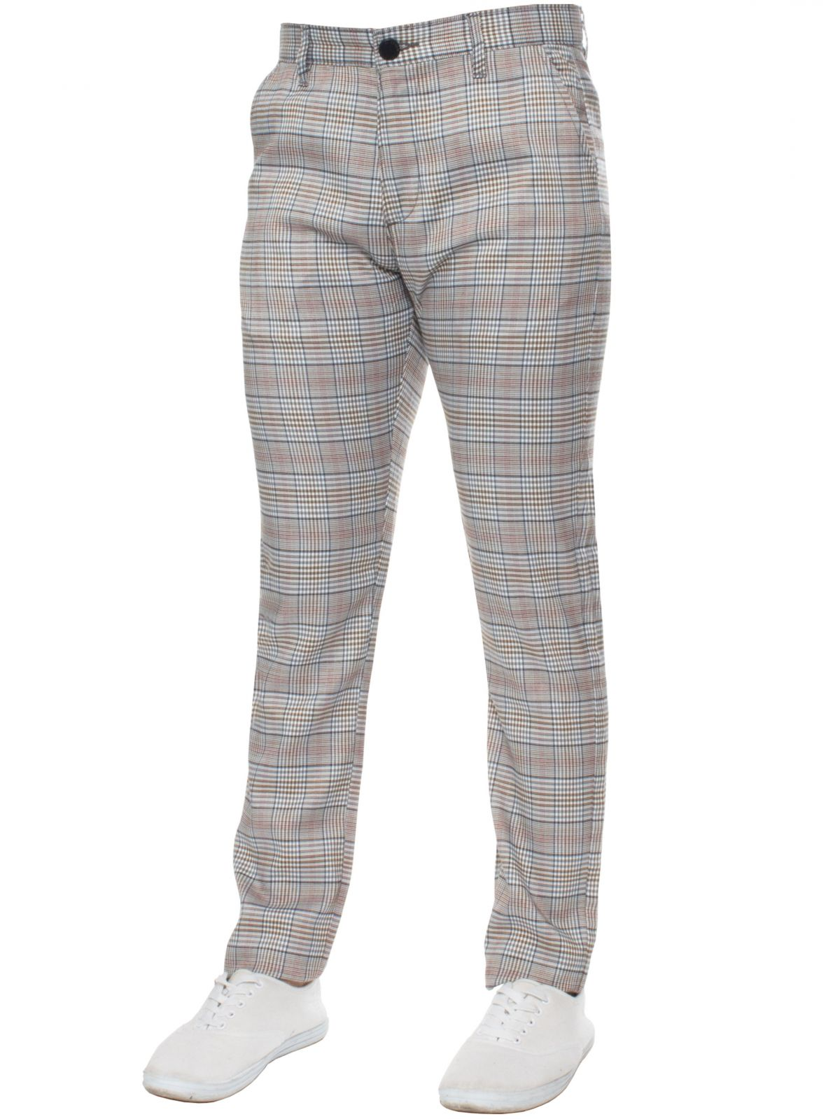 ENZO Designer Jeans | Mens Check Slim Fit Tapered Casual Chinos