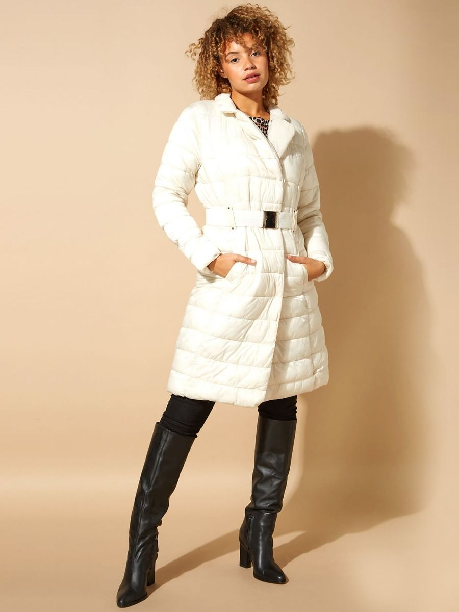 EX F&F Womens Long White Padded Faux Fur Collar Winter Puffer Jacket