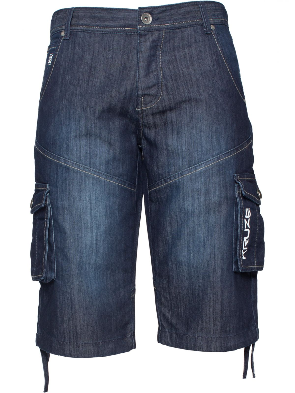Kruze | Mens Cargo Combat Shorts Heavy Duty Denim Shorts