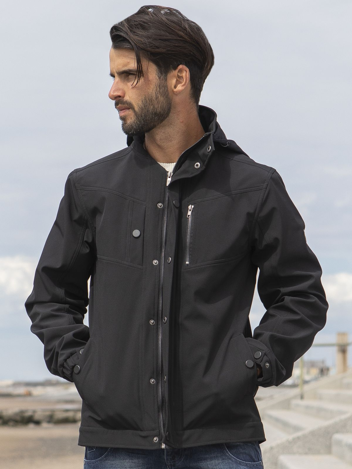 ETO Clearance | Designer Men's Black Zip Jacket Style React