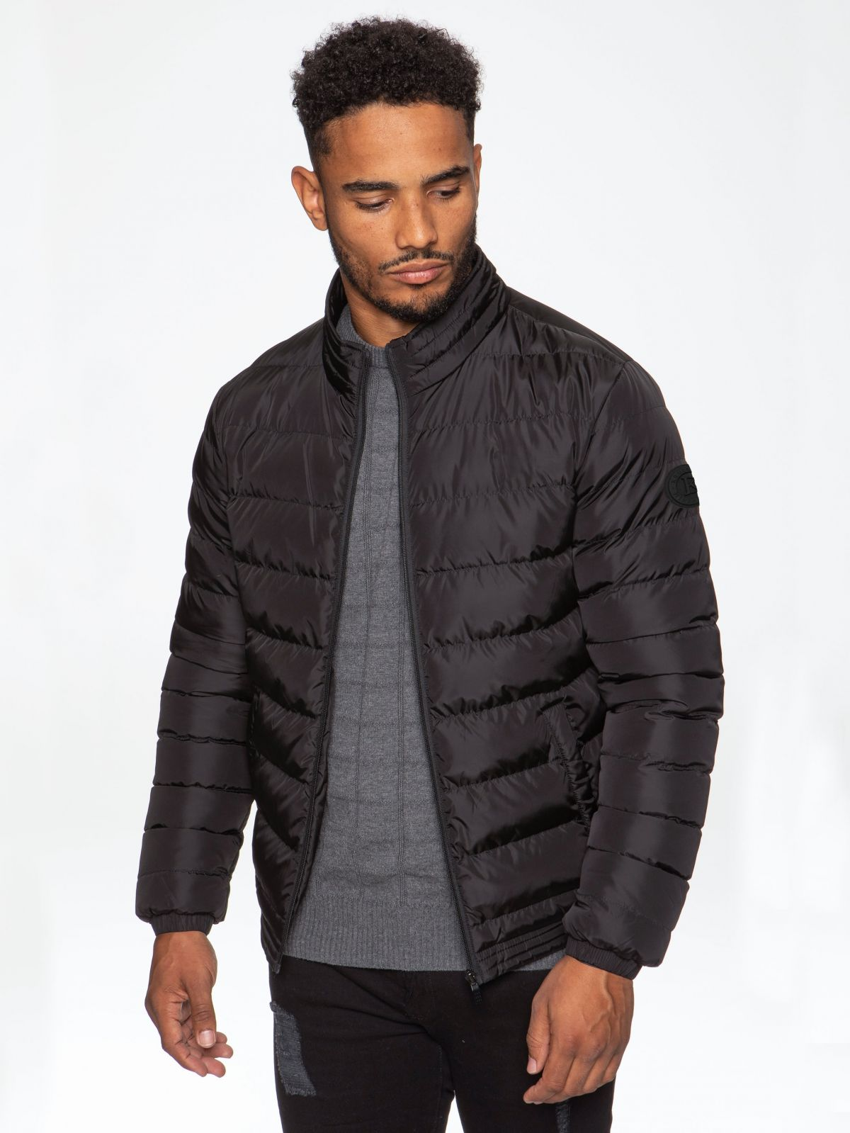 Mens Kruze Clothing Drill | Quilted Zip Up Padded Winter Jacket