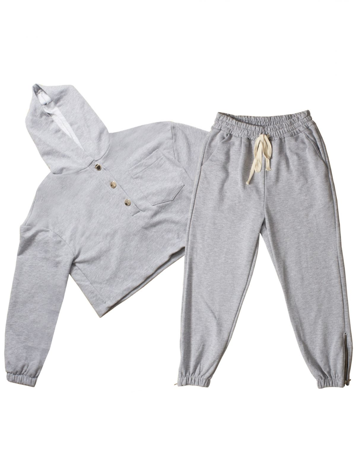Womens Designer Oversized Tracksuit Set | Metal Button Hoodie Ankle Zip Joggers