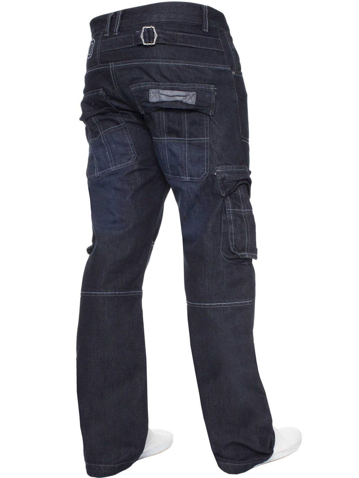 Mens Dark Blue Combat Denim Jeans | Enzo Designer Menswear