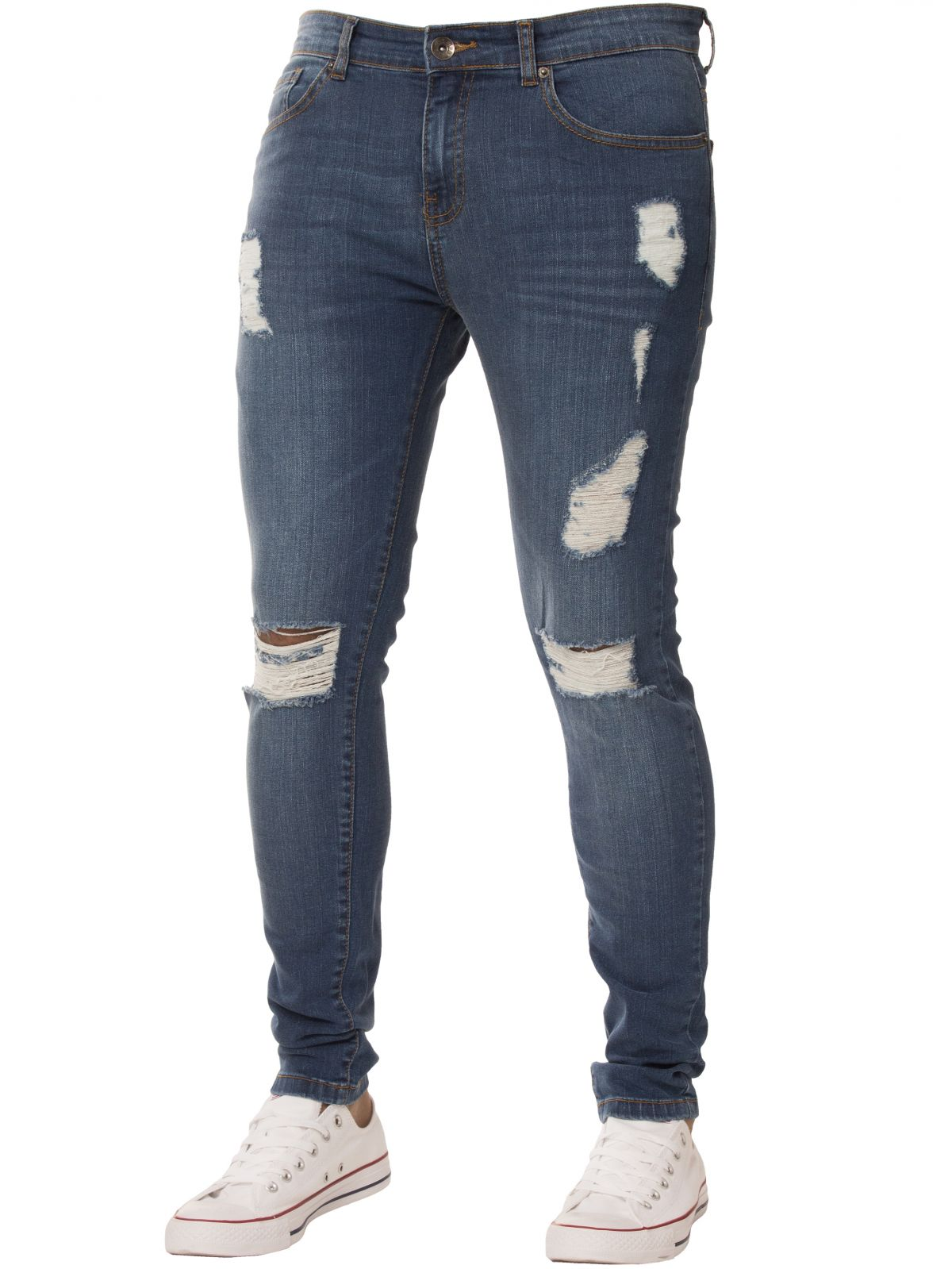 Mens Super Skinny Stretch Ripped Jeans | Enzo Designer Menswear