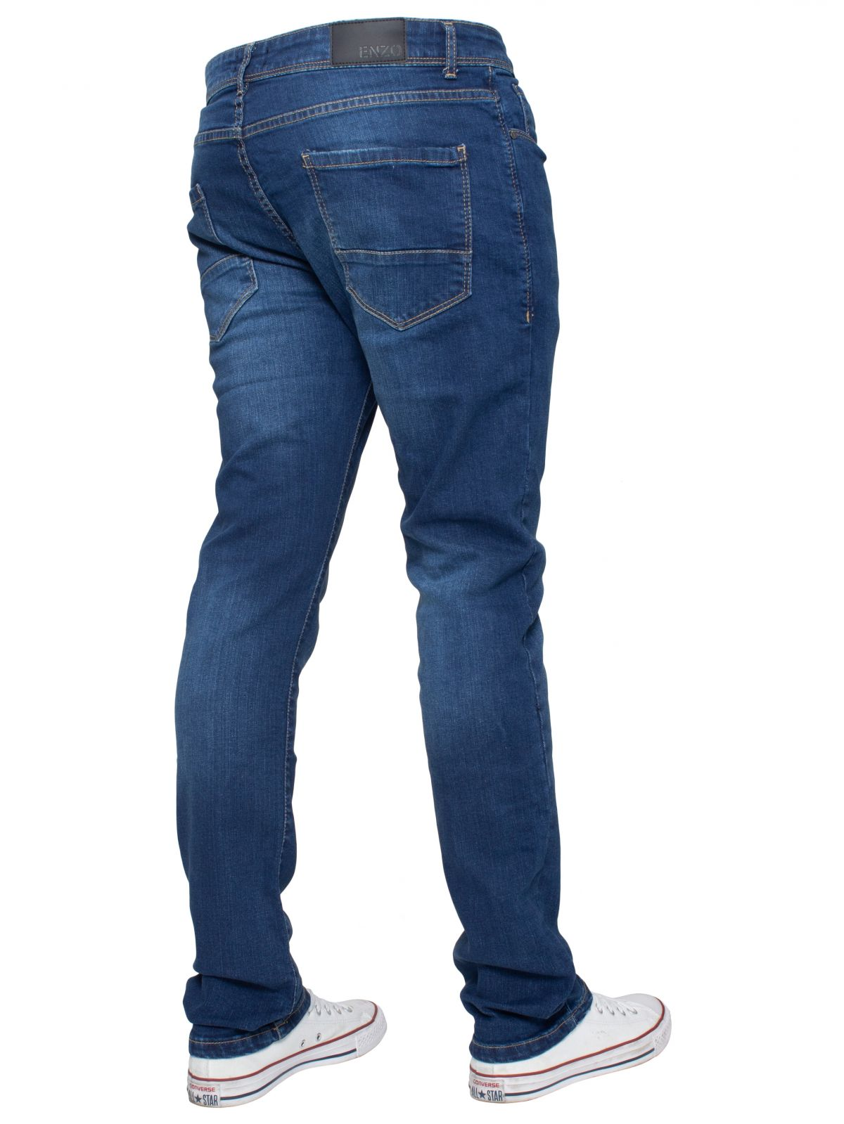 Mens Slim Stretch Mid Stonewash Denim Jeans | Enzo Designer Menswear