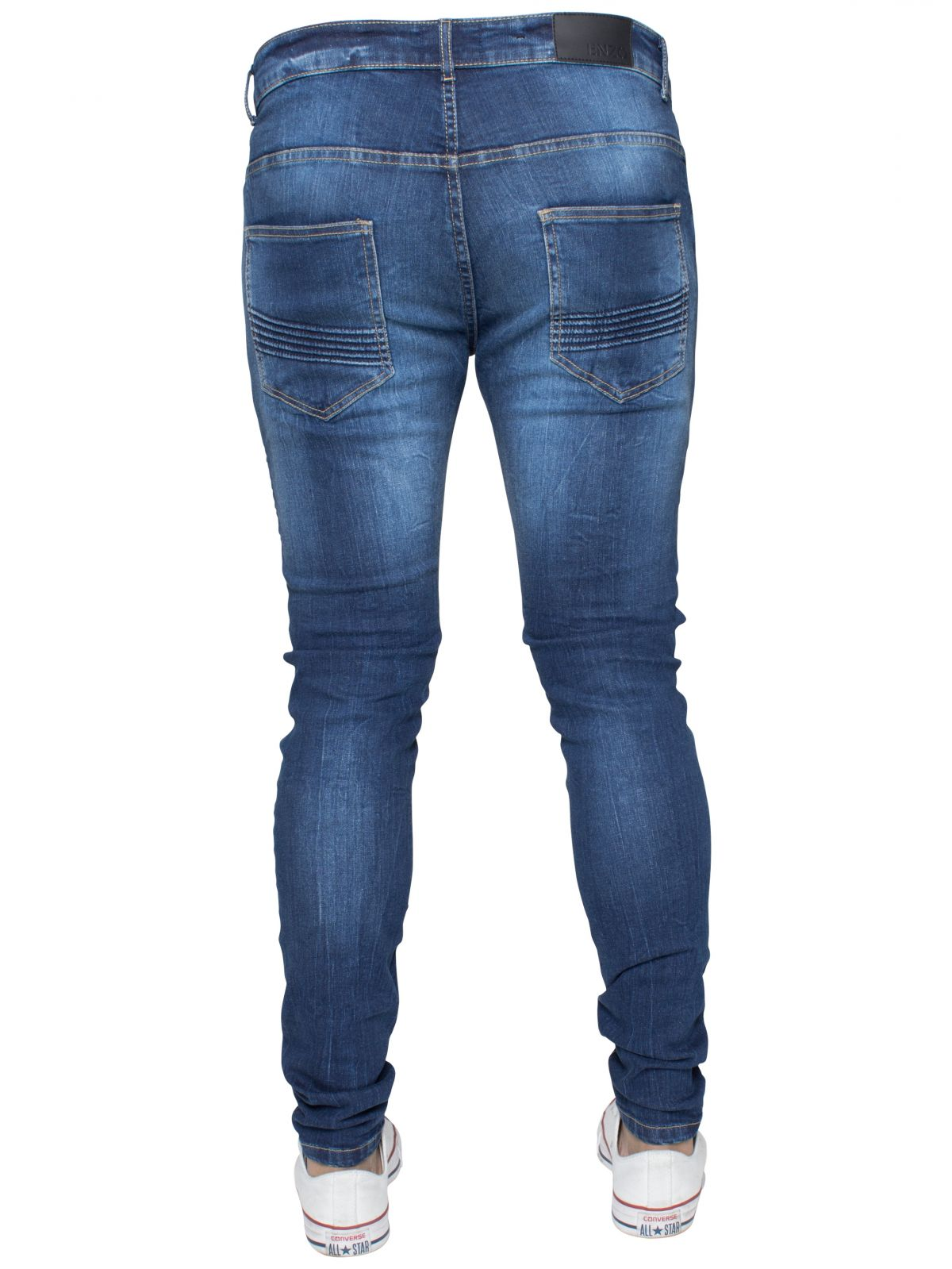 Mens Blue Designer Ripped Biker Jeans Super Skinny Stretch Denim | Enzo Designer Menswear