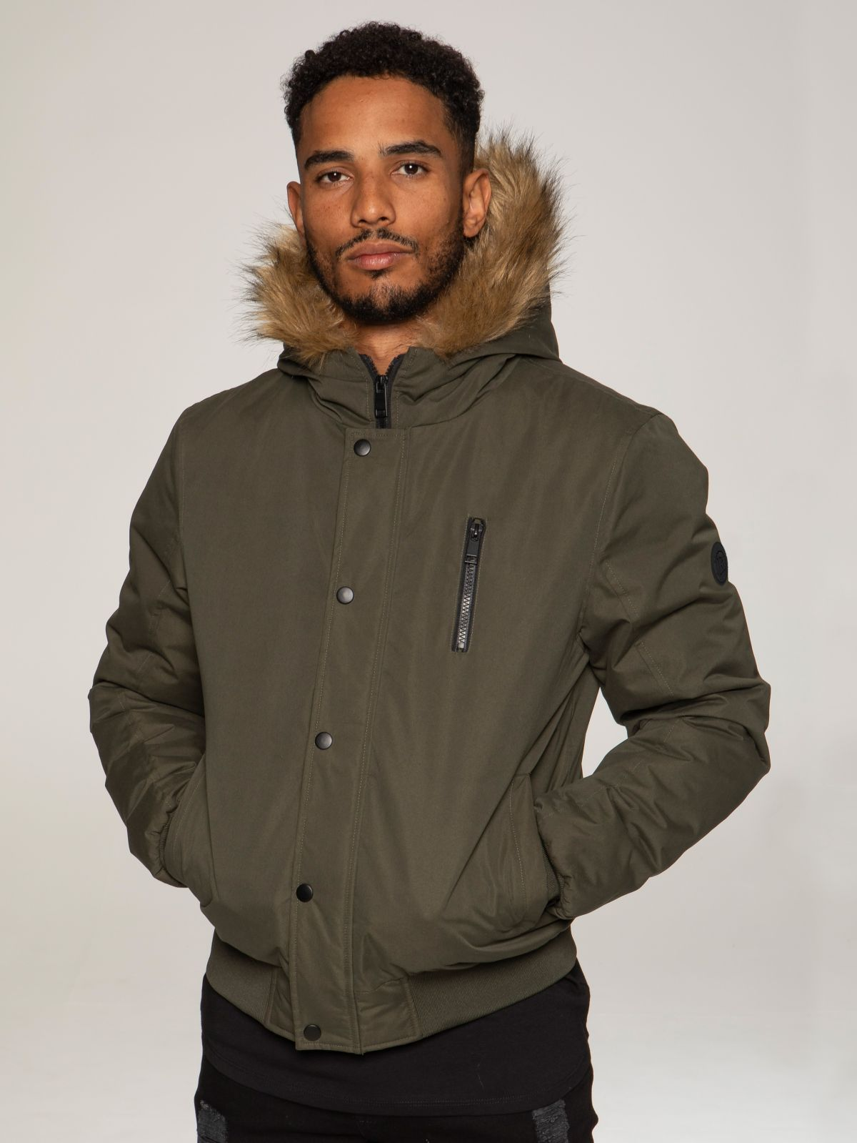 Mens Kruze Clothing Drift | Windproof Bomber Faux Fur Hooded Jacket