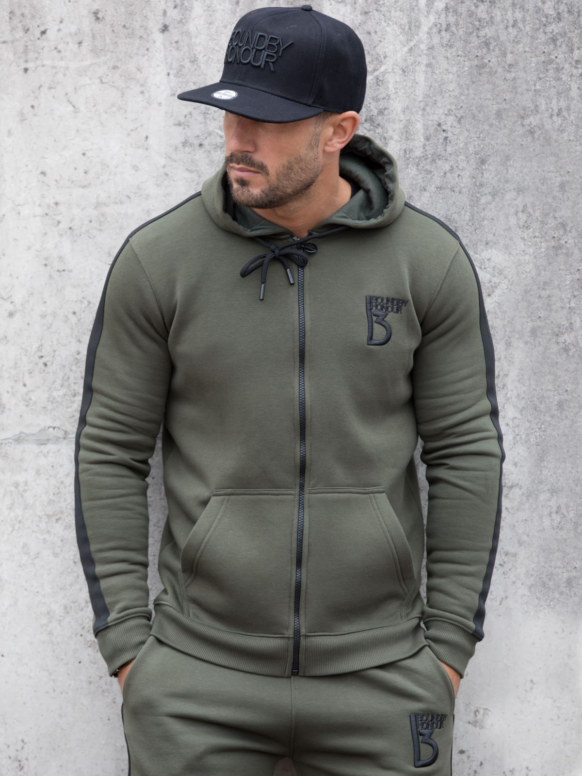 Scale Zipped Tracksuit Hood With Tape Detail   Bound By Honour