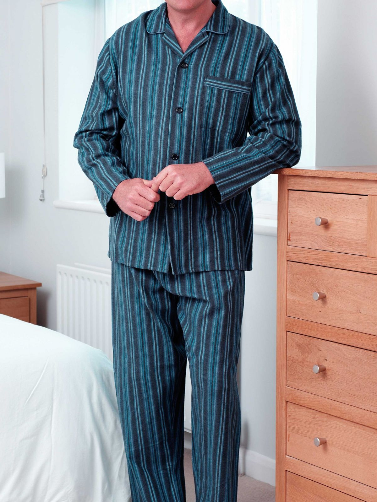 Clearance | Striped Mens Brushed Cotton Classic Designer Pyjamas