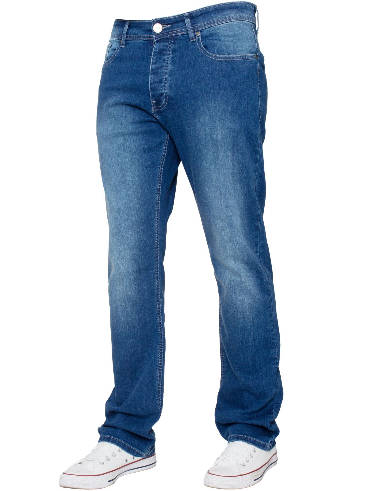 Mens Light Blue Regular Fit Stretch Denim Jeans | Enzo Designer Menswear