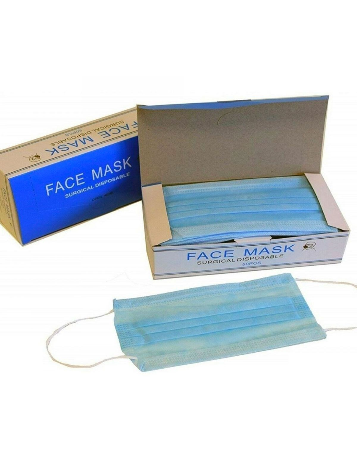 Breathable 3 Ply Disposable 10 Pack Face Masks With Earloops , From , Guest Brand, in Blue | Raw Denim Outlet