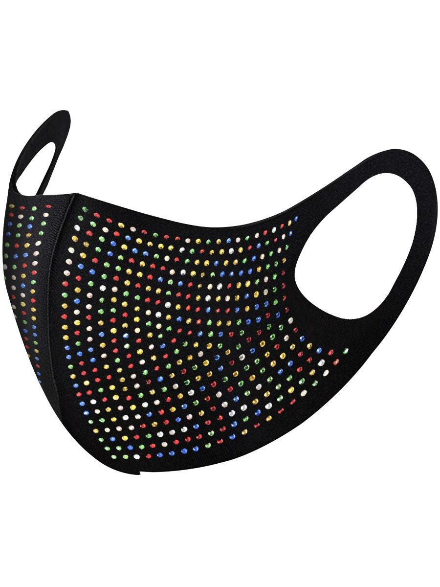 Accessories | Diamante Stud Mask Available in Blue, Red, Grey, Pink & Black