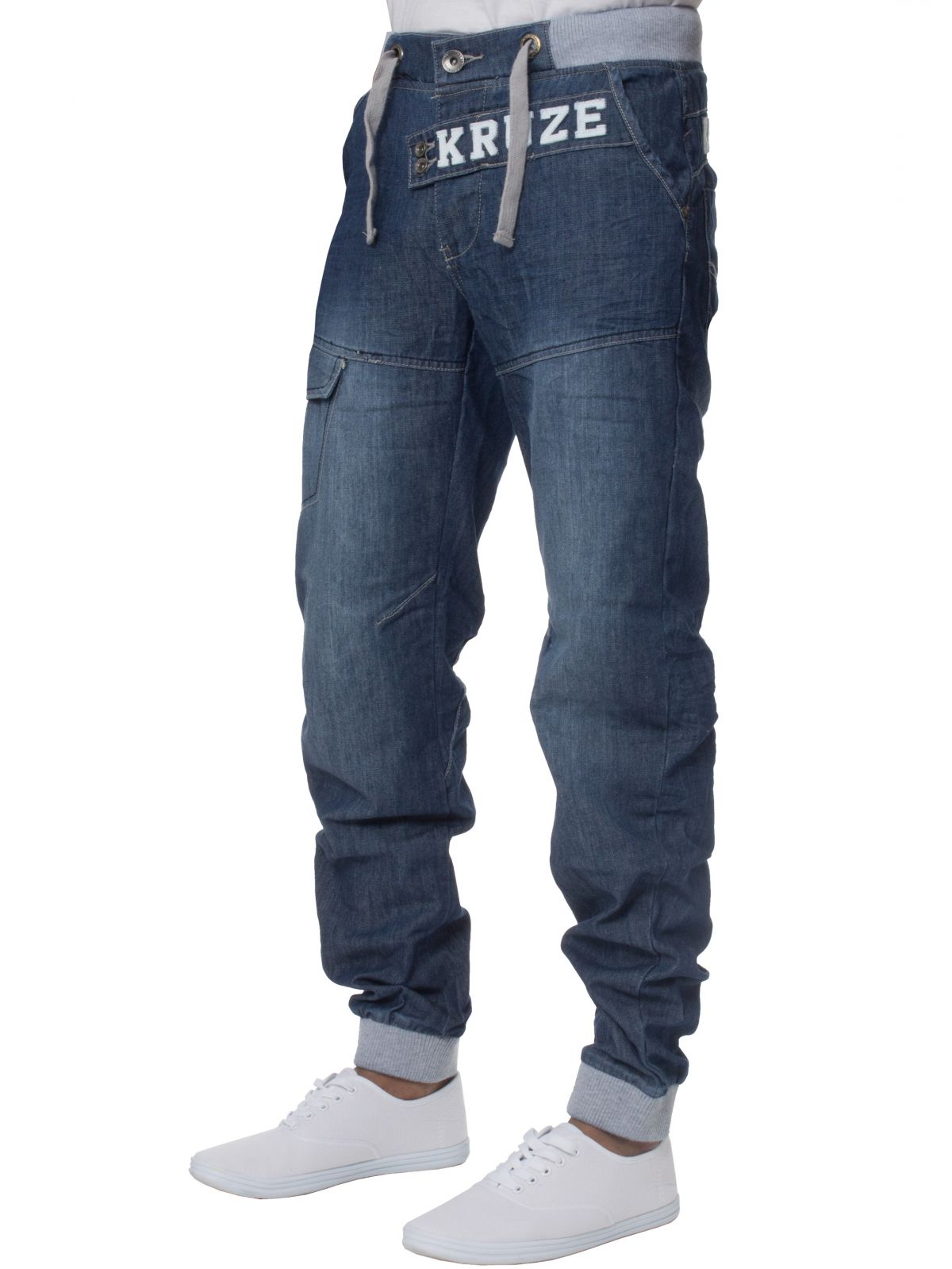 KRUZE Mens Designer Casual Mid Stonewash Branded Denim Cuffed Jeans Pants