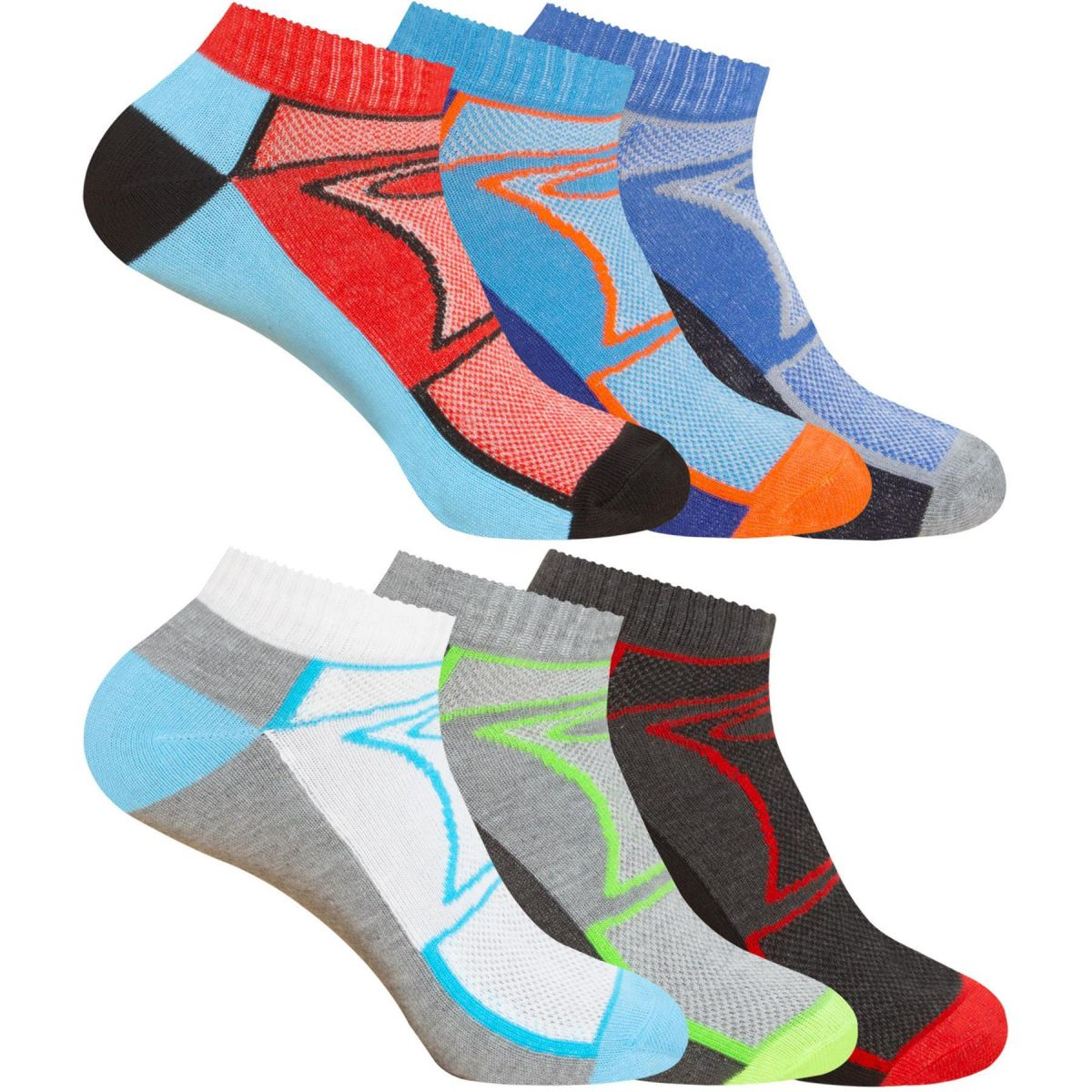 Accessories | Mens Trainers Socks 3, 6 Pairs & 7 Days Invisible Shoe Gym Ankle Liner Size 6-11, From £5.24, Guest Brand, in Multicolour | Raw Denim Outlet
