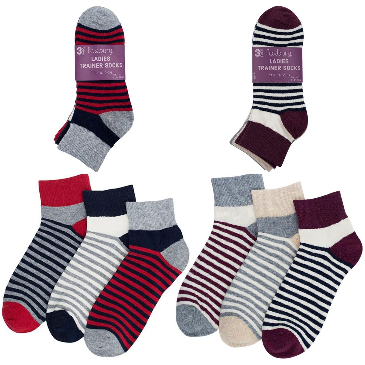 Accessories | Womens Striped Trainer Liners Sock