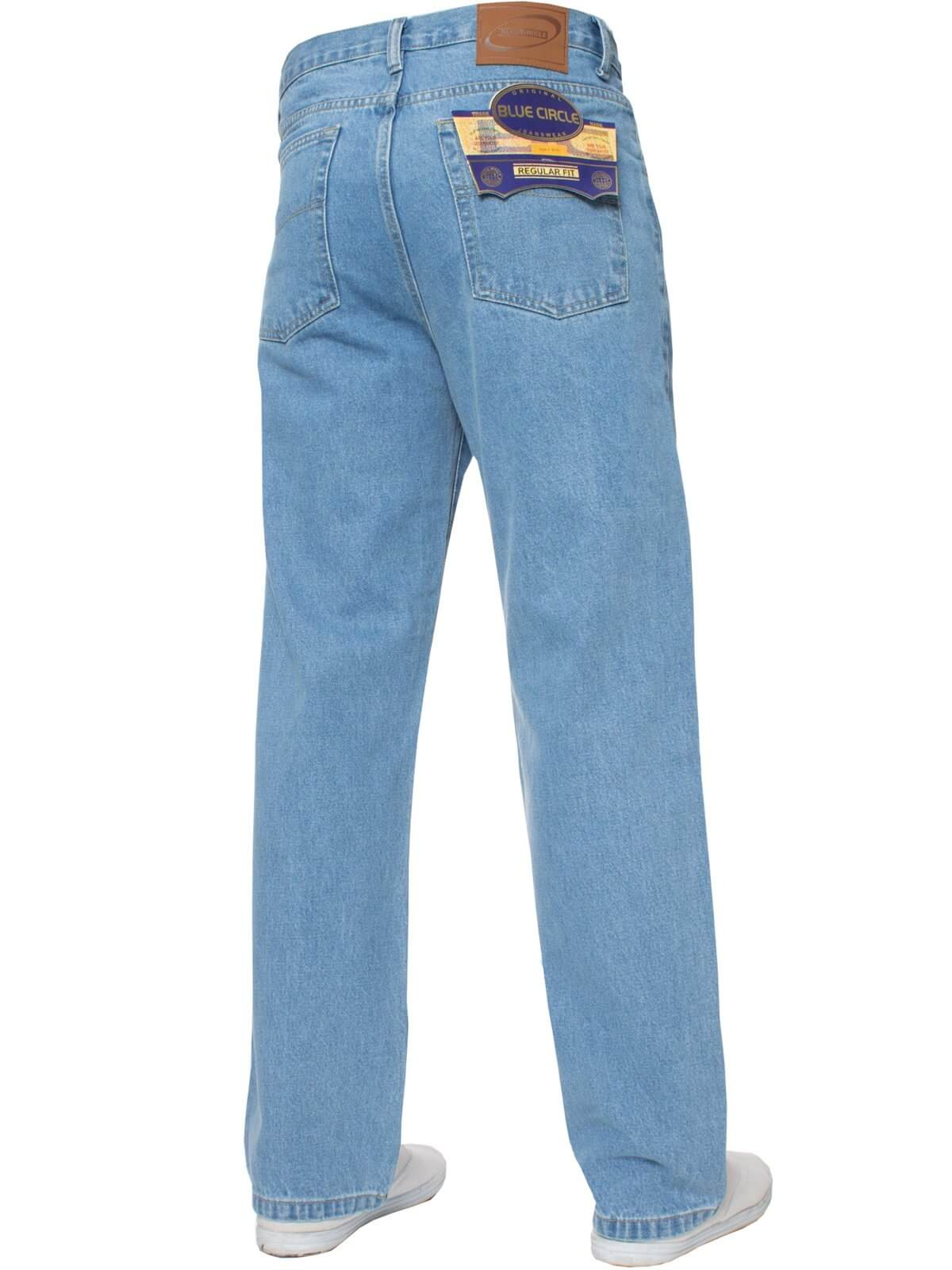 Mens Bleach Wash Classic Denim Jeans BCB2 | Blue Circle Designer Menswear