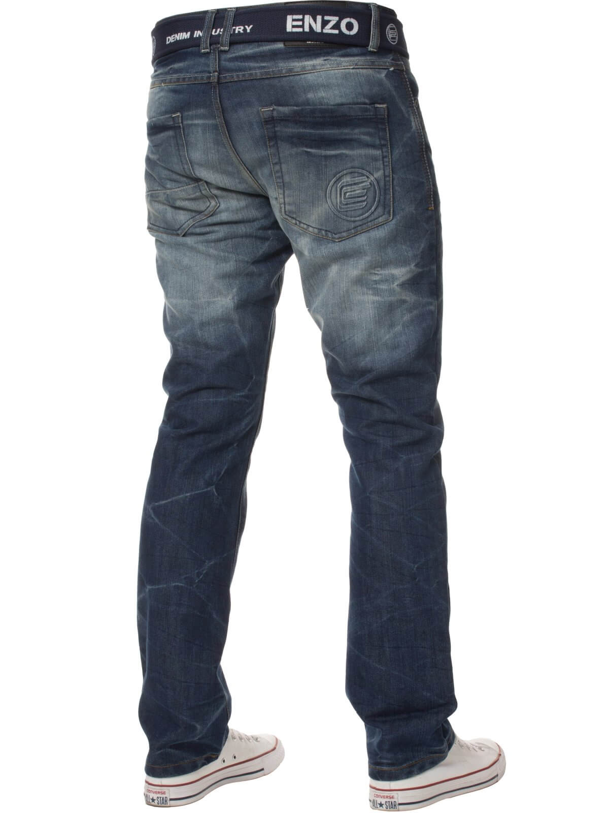 Mens Denim Straight Fit Jeans Mid Stonewash | Enzo Designer Menswear