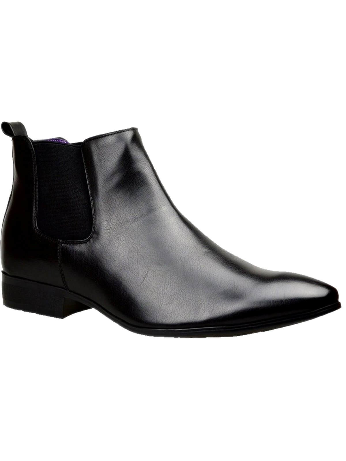Clearance | Designer Men's Chelsea Formal Leather Boots With Elasticated Pull On