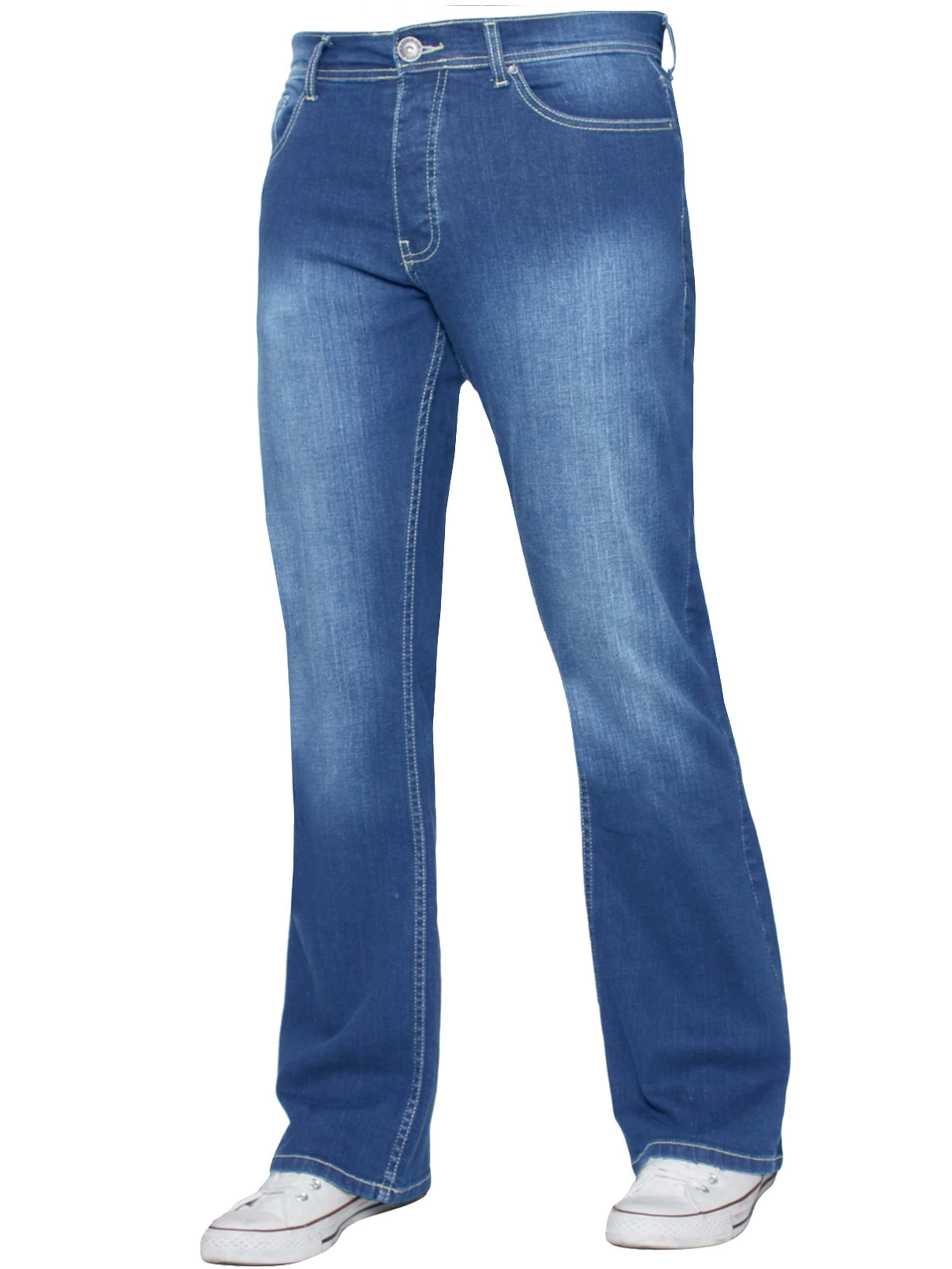 Image of Raw Denim Designer Outlet - Designer Mens Light Blue Bootcut Denim Jeans Enzo Designer Menswear by Enzo of Light Wash color for only £19.99 // Raw Denim