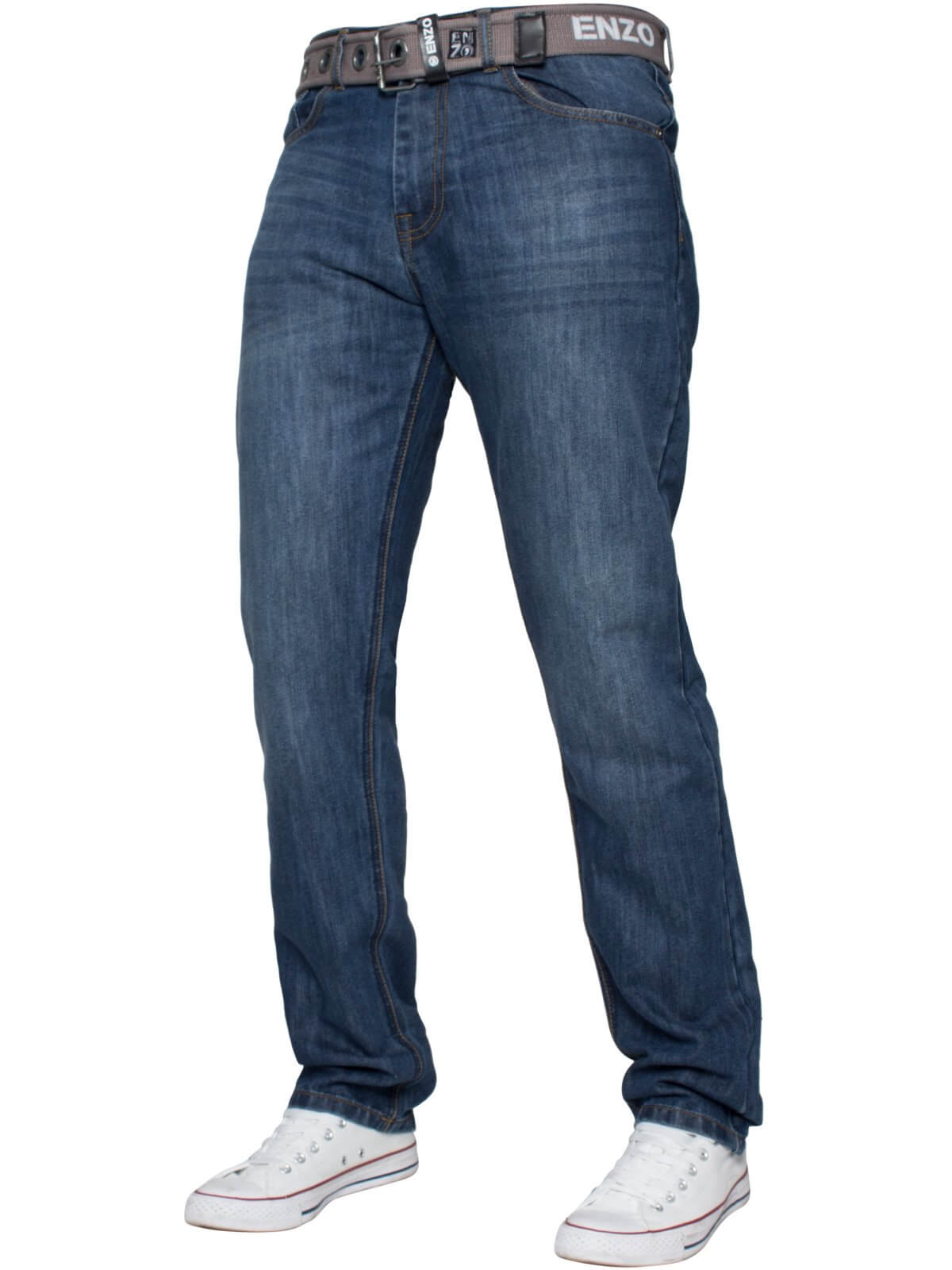 Mens Designer Blue Tapered Fit Denim Jeans | Enzo Designer Menswear