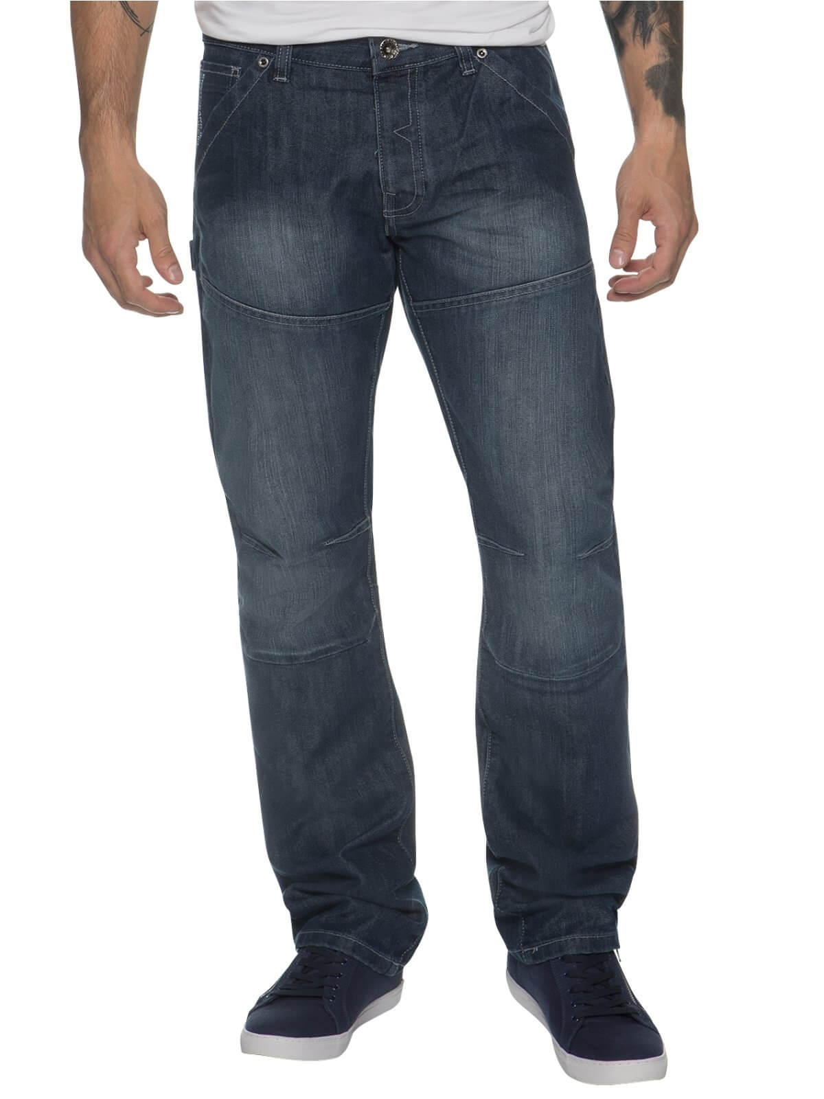 Mens Midwash Straight Fit Denim Jeans EZ243 | Enzo Designer Menswear