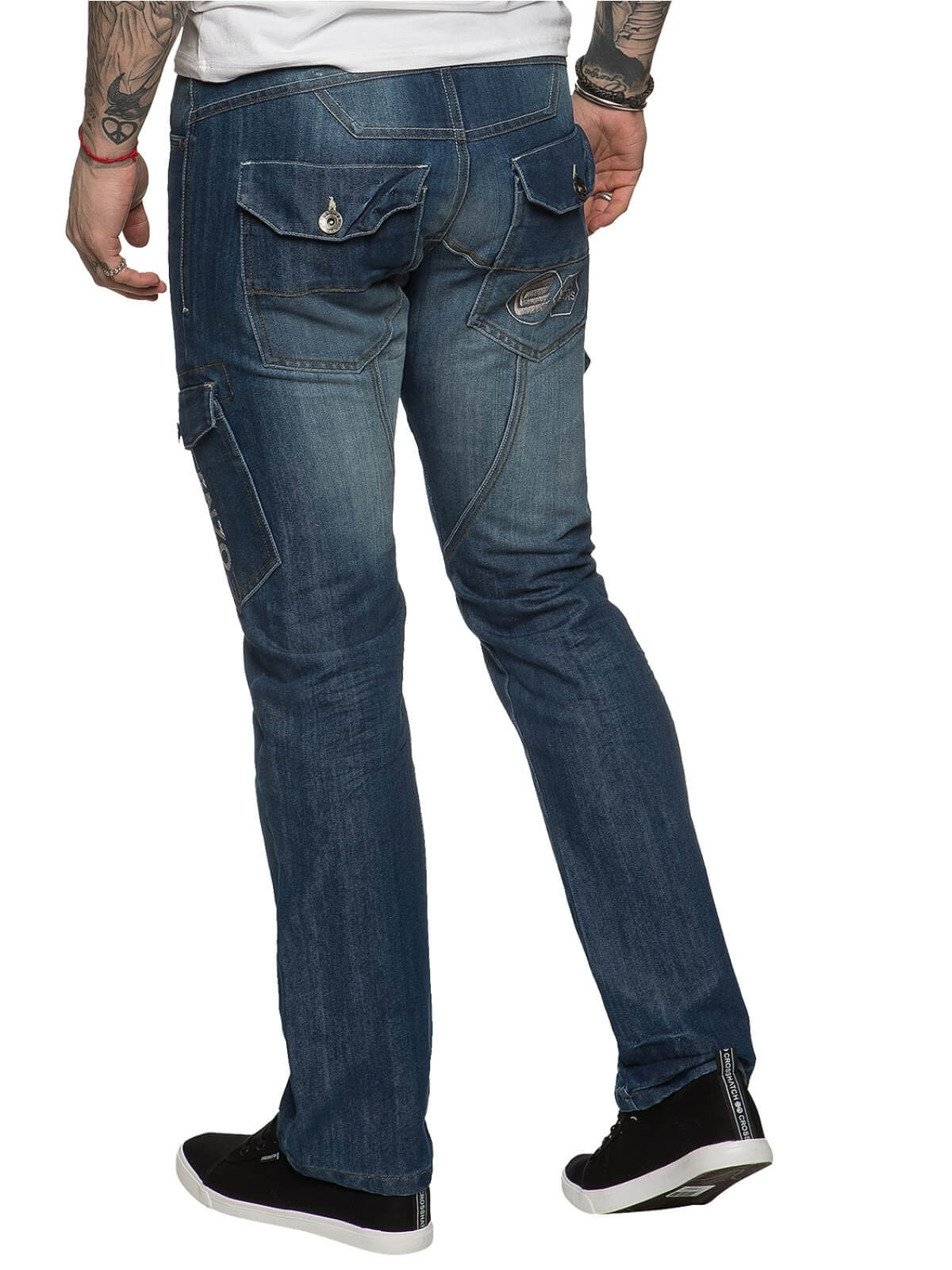 Mens Straight Fit Cargo Denim Jeans Dark Stonewash | Enzo Designer Menswear