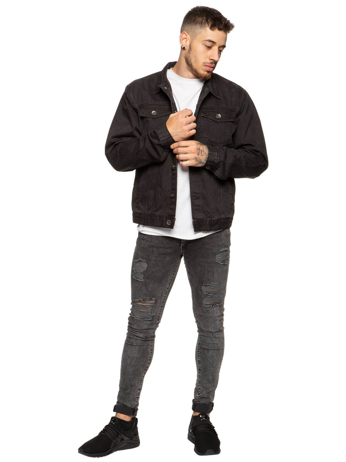 Mens Enzo Denim Designer Jacket - Black | Enzo Designer Menswear