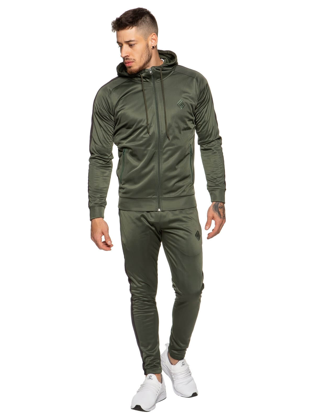 Mens Zip Through Full Khaki Tracksuit Set | Enzo Designer Menswear