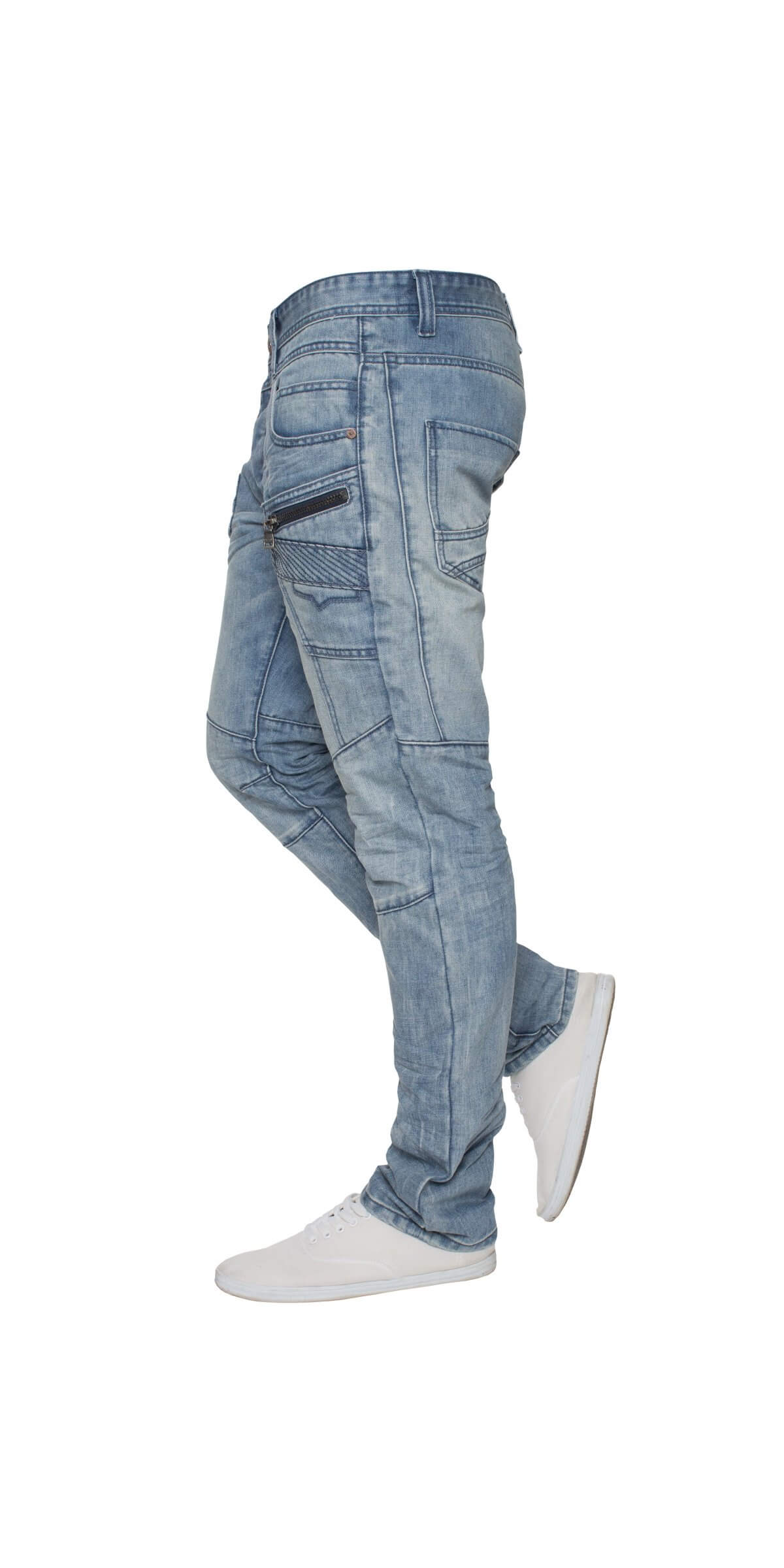 ETO Mens Light Blue Distressed Tapered Jeans