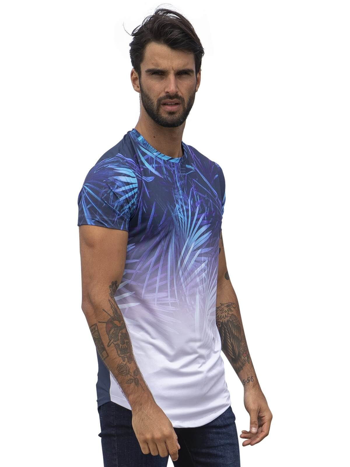 Clearance | Mens Filter Designer Blue Unique Print T-Shirt | Enzo Designer Menswear