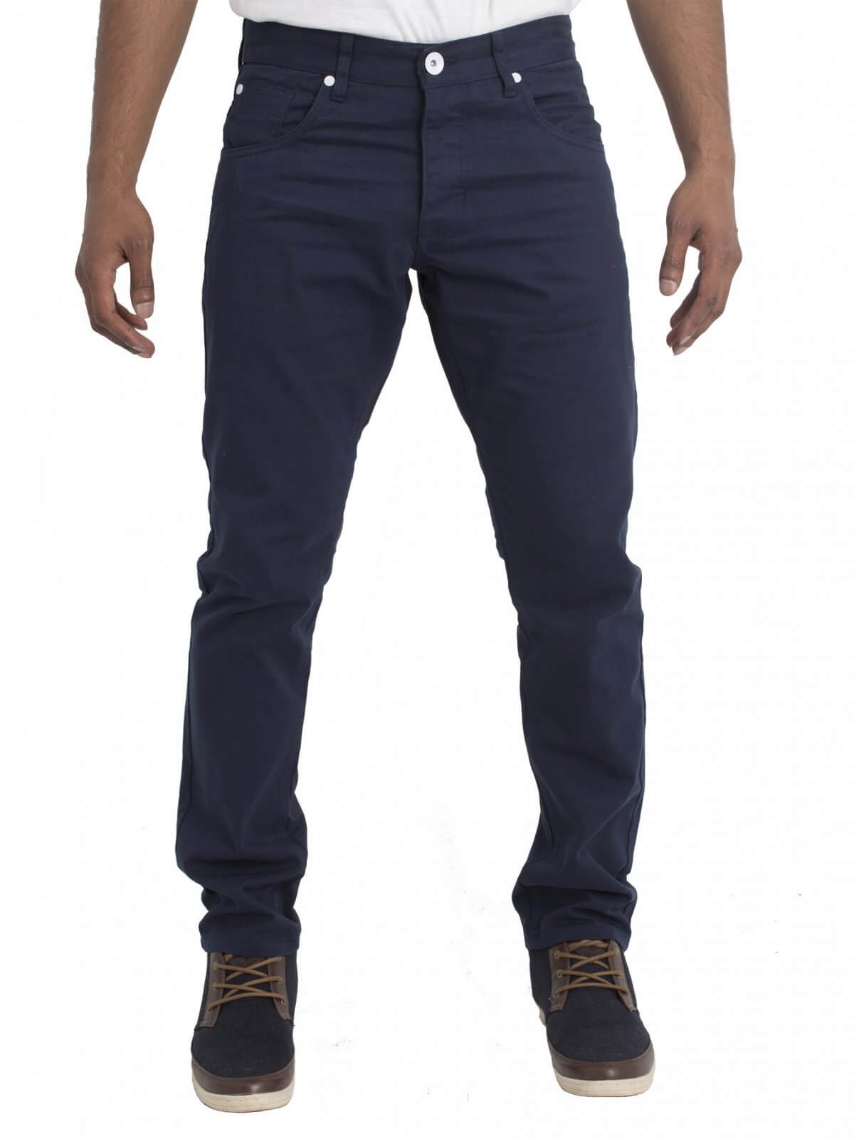 Clearance | Mens Navy Skinny Chino Denim Jeans | Enzo Designer Menswear