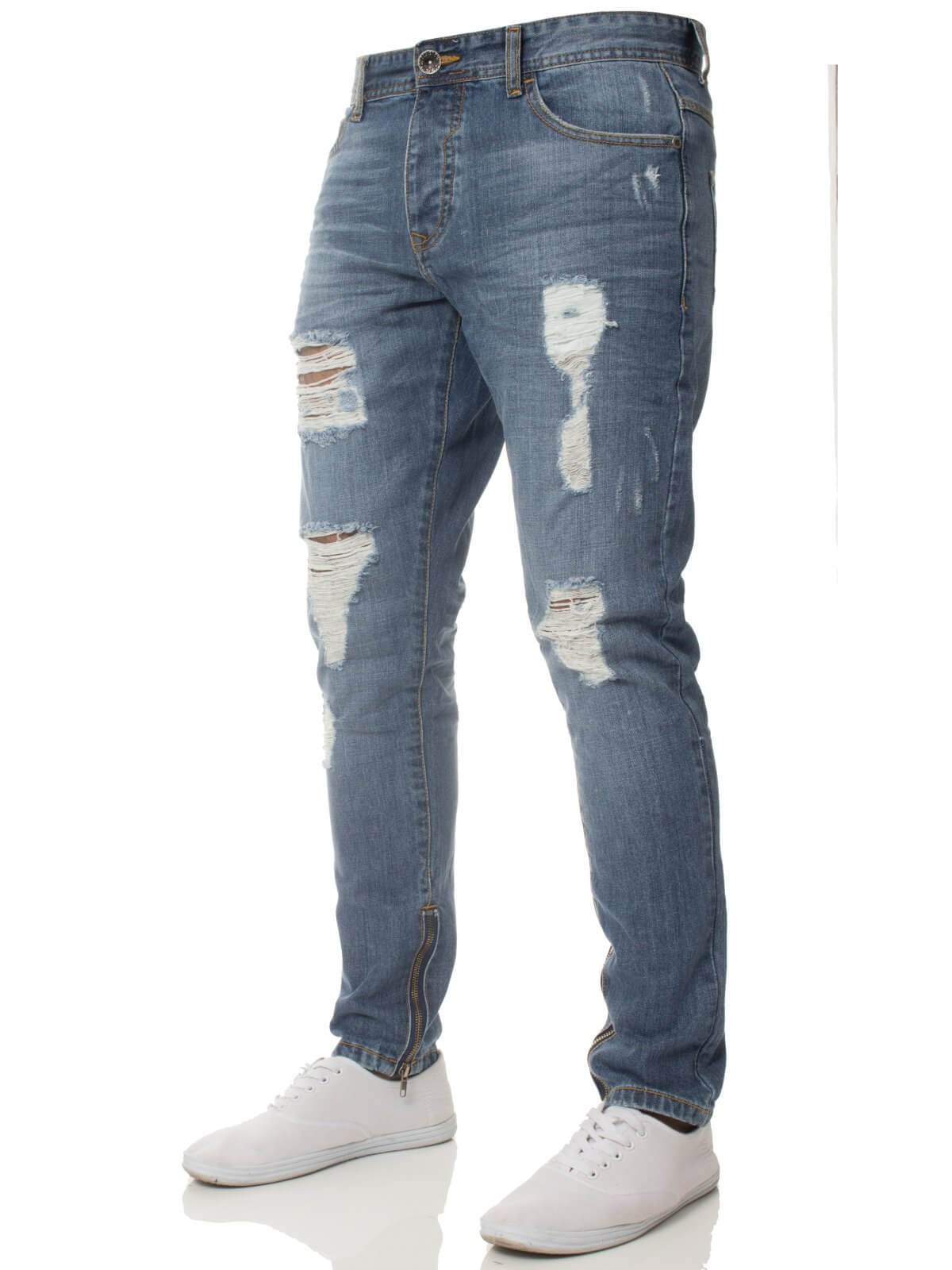 Clearance | Mens Denim Ripped Denim Jeans Lightstone Wash | Enzo Designer Menswear