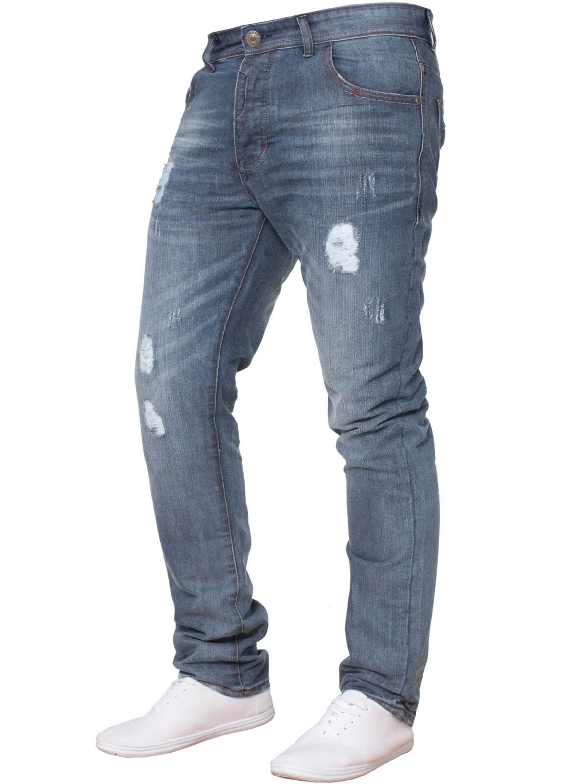 Clearance | Mens Mid Stonewash Slim Fit Ripped Denim Jeans | Enzo Designer Menswear