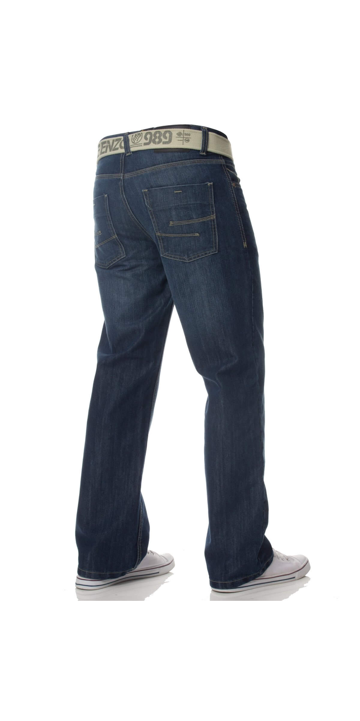 Mens Mid Wash Jeans with Belt EZ15 | Enzo Designer Menswear
