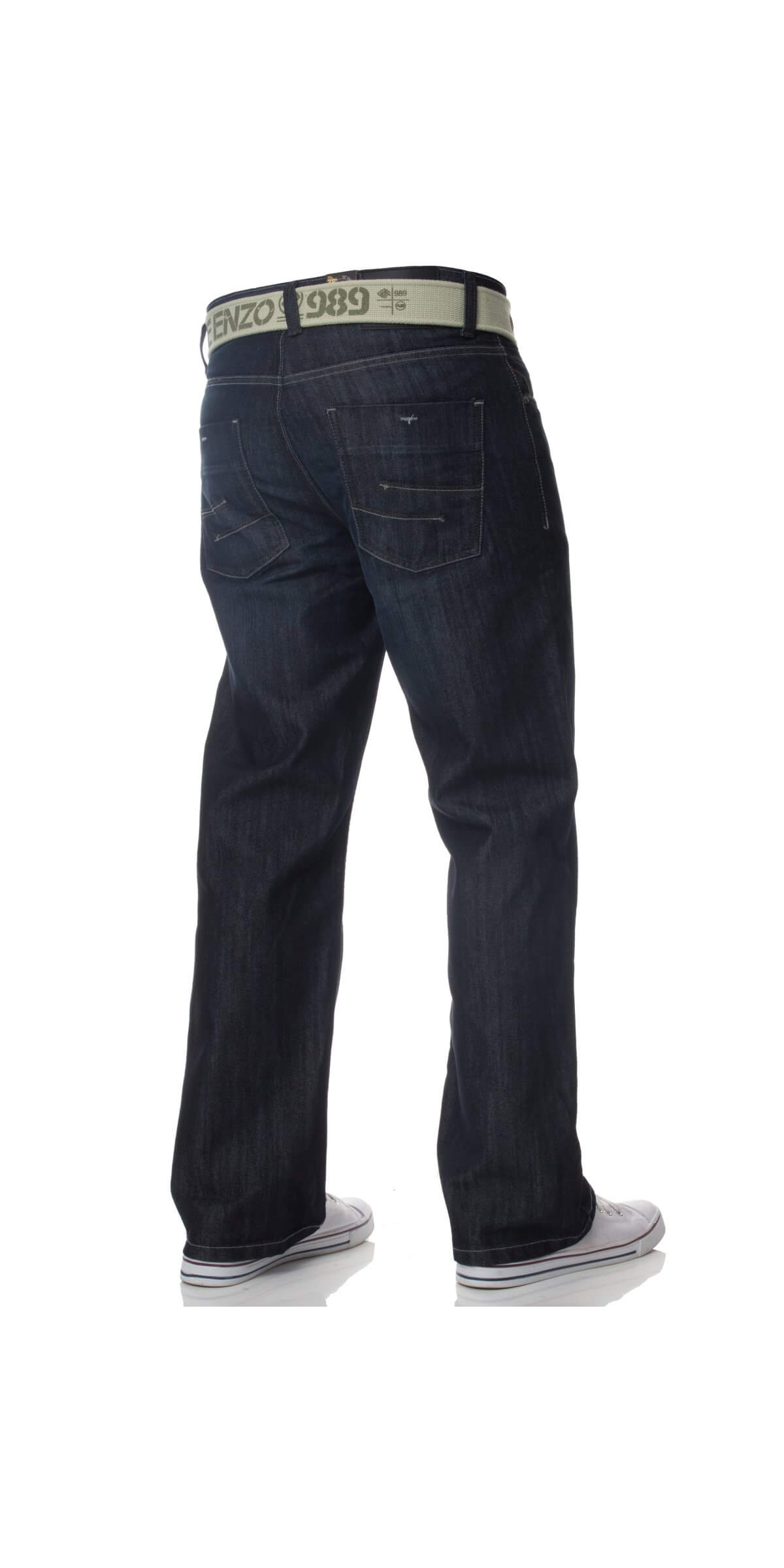 Mens Dark Blue Jeans with Belt EZ14 | Enzo Designer Menswear