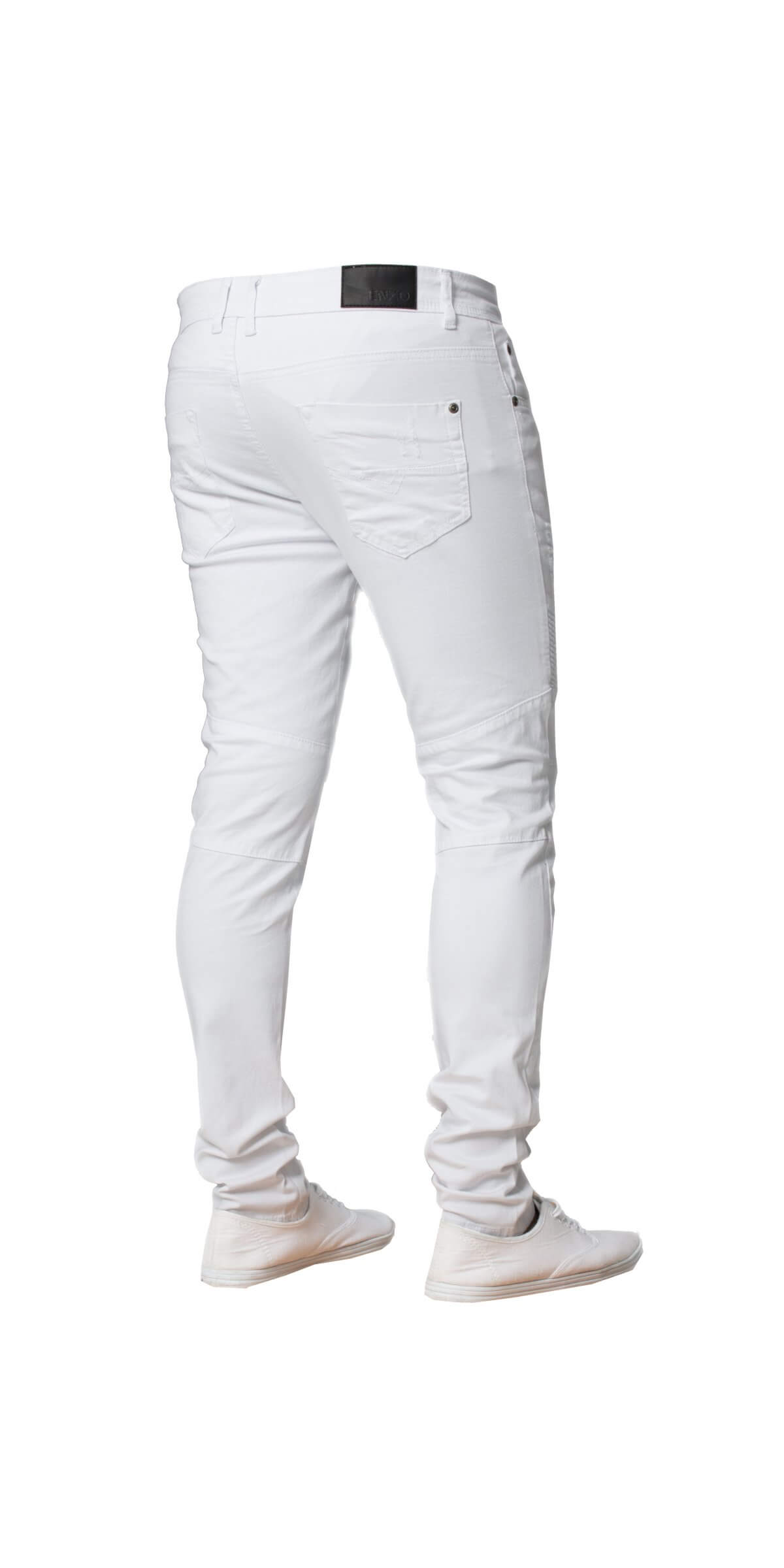 Mens White Super Skinny Stretch Biker Denim Jeans | Enzo Designer Menswear