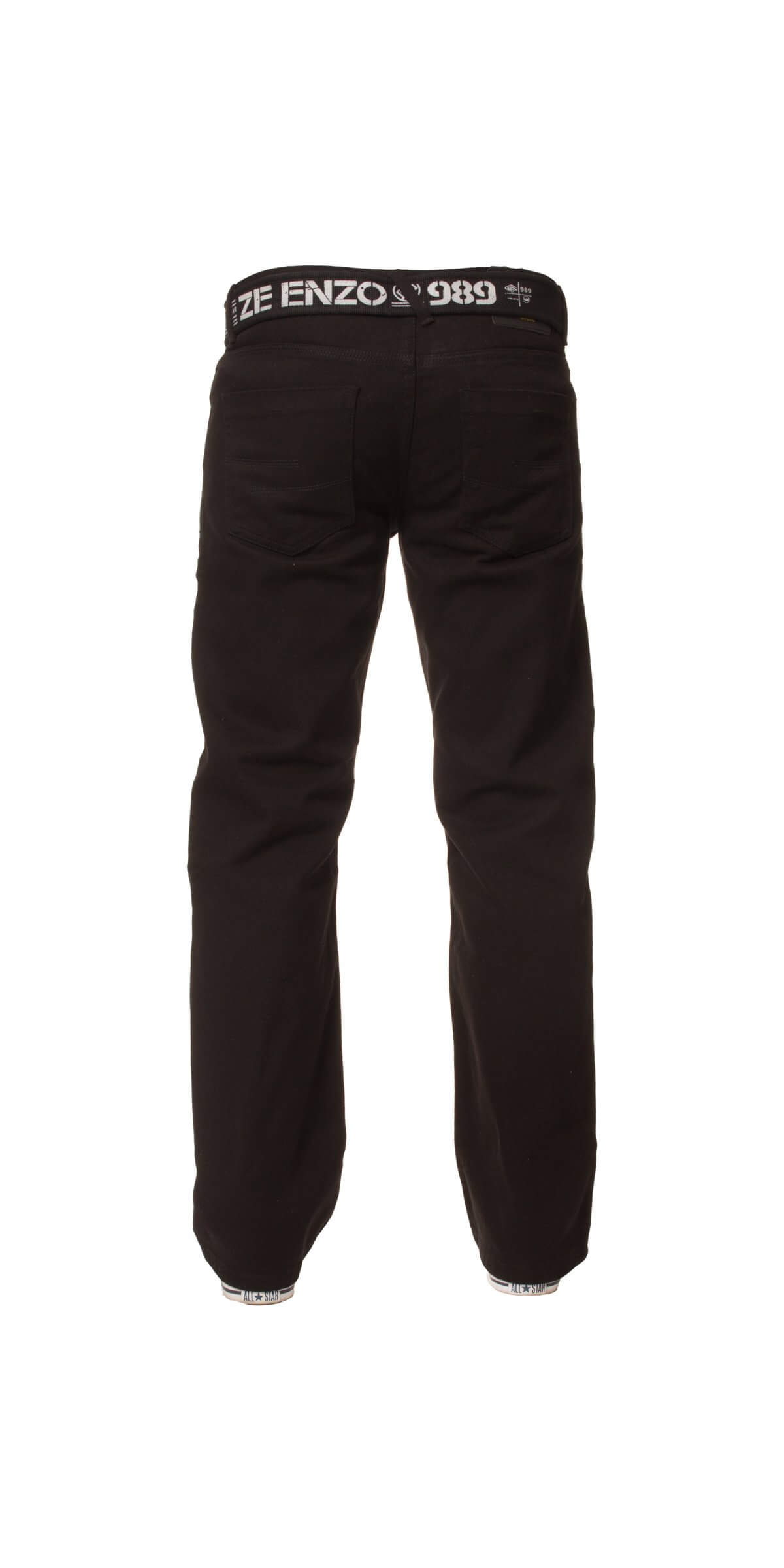 Mens Black Jeans with Belt | Enzo Designer Menswear