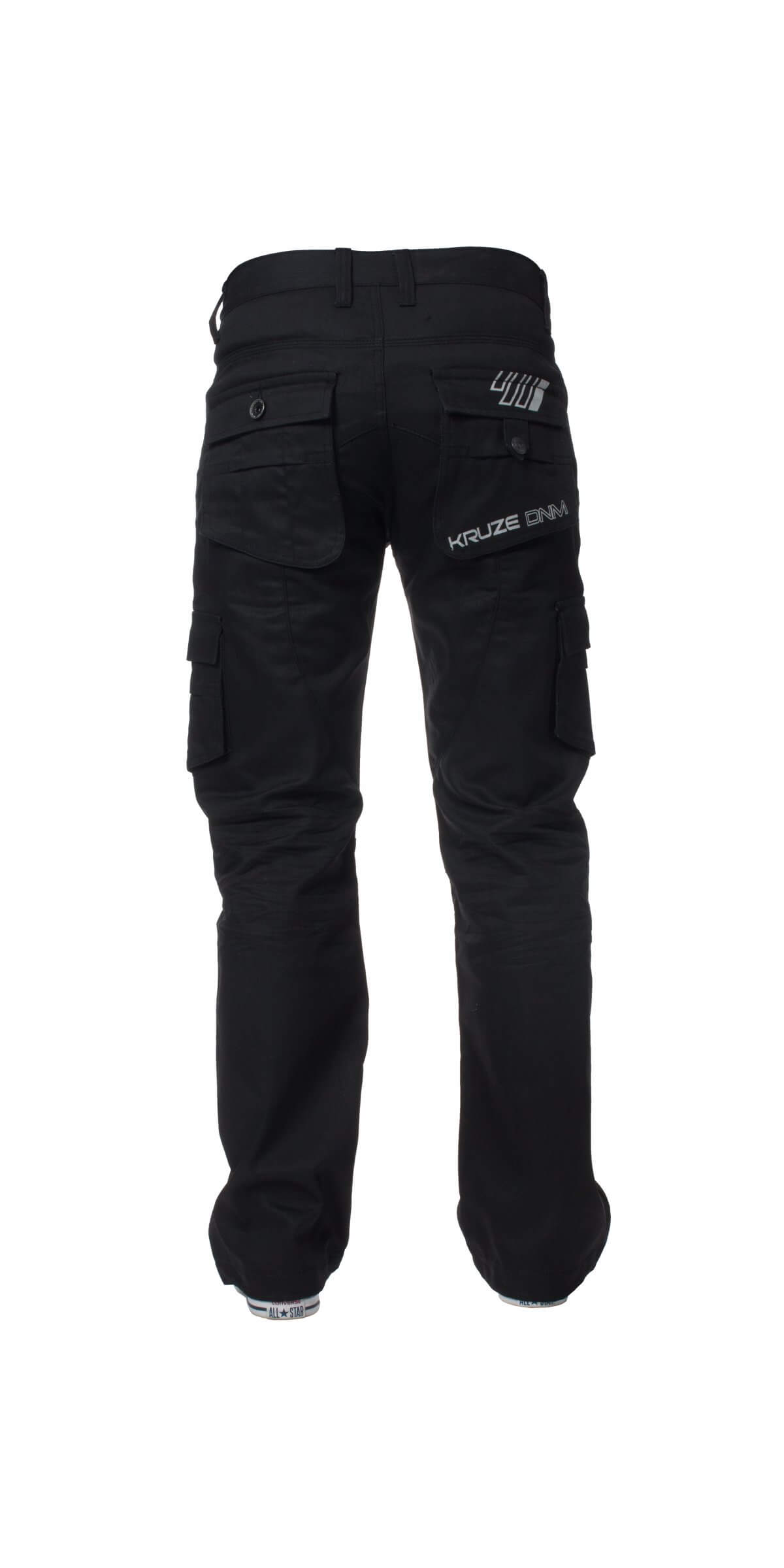 Kruze | Mens Coated Combat Cargo Denim Coated Jeans