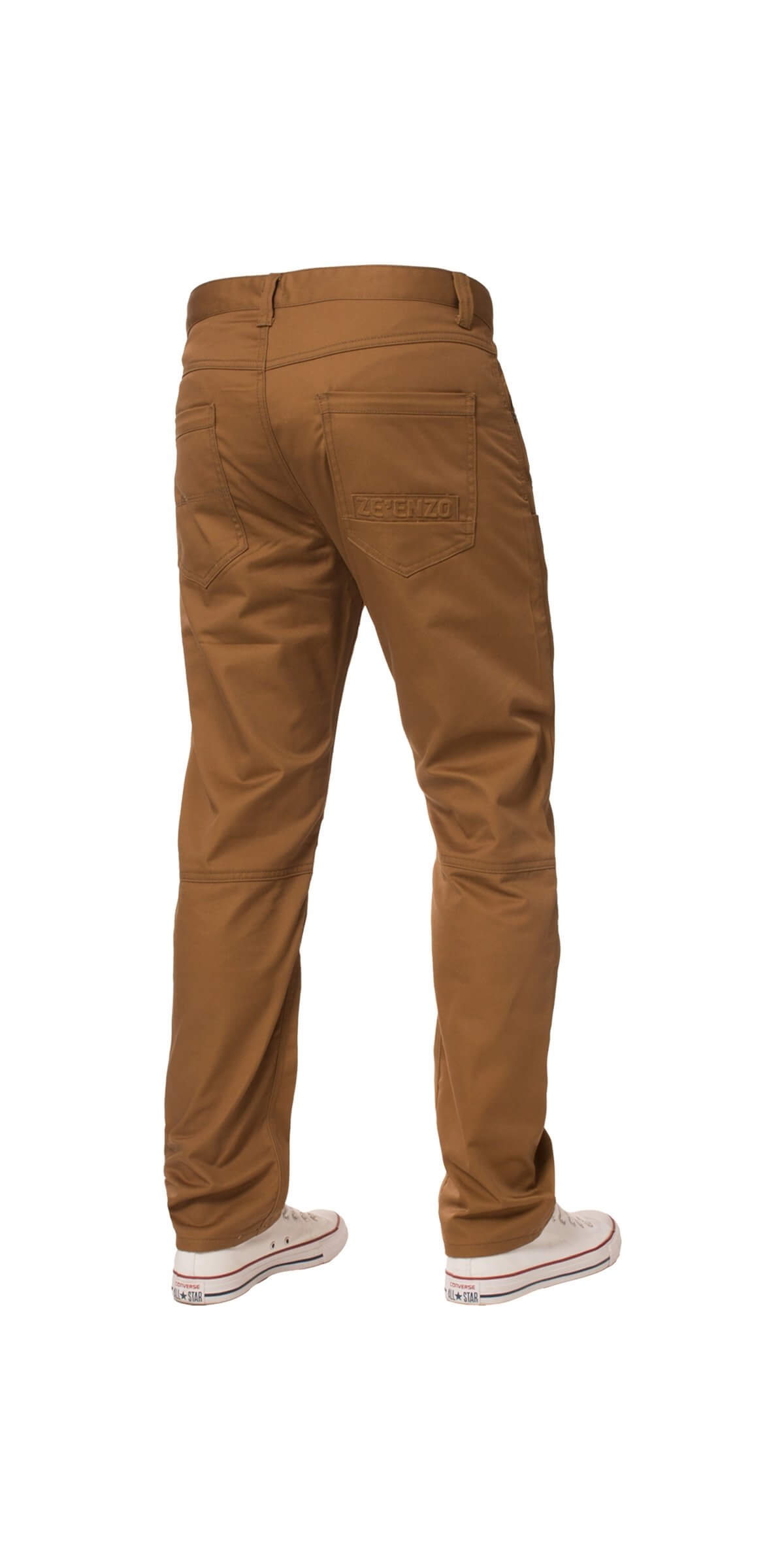Clearance | Mens Straight Leg Regular Fit Chino Denim Jeans Tan | Enzo Designer Menswear