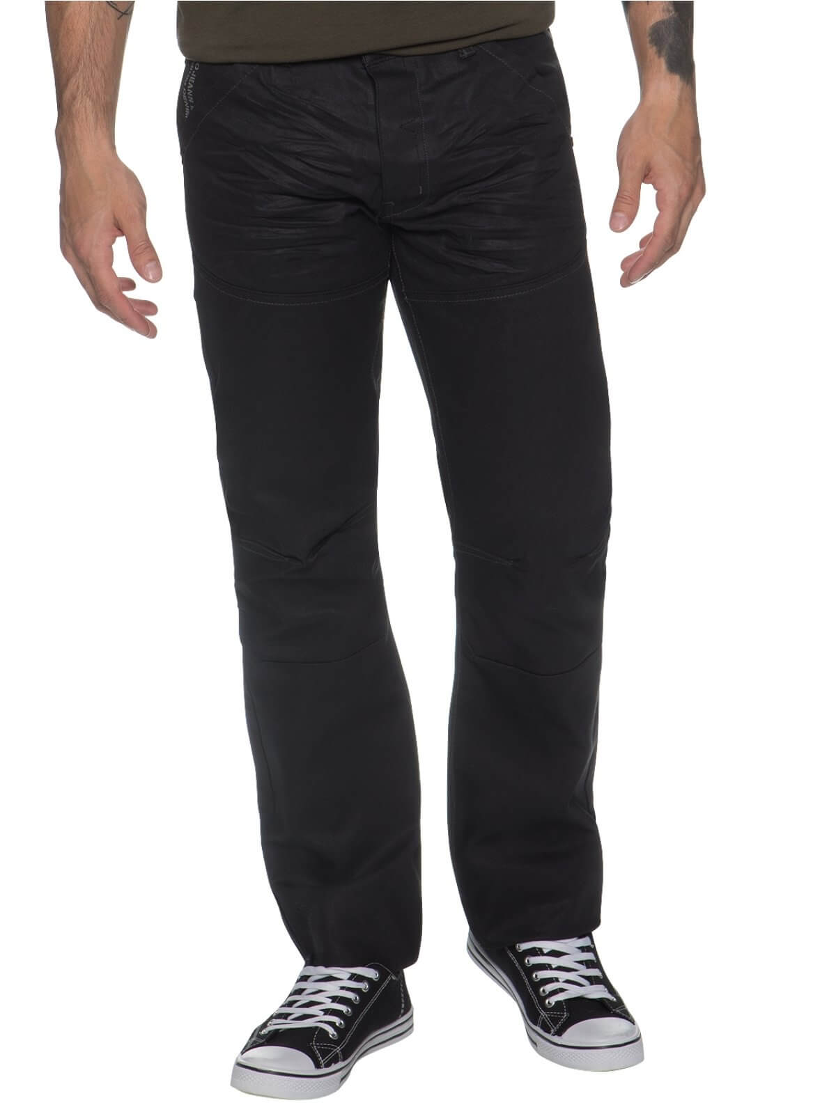 Mens Black Regular Fit Denim Jeans EZ329 | Enzo Designer Menswear