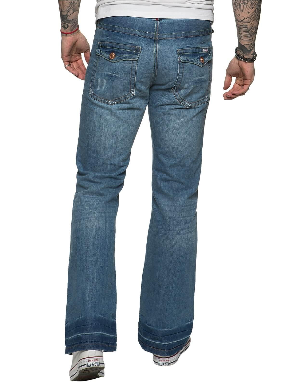 Men's Light Wash Boot Cut Denim Jeans A42 | APT Designer Menswear