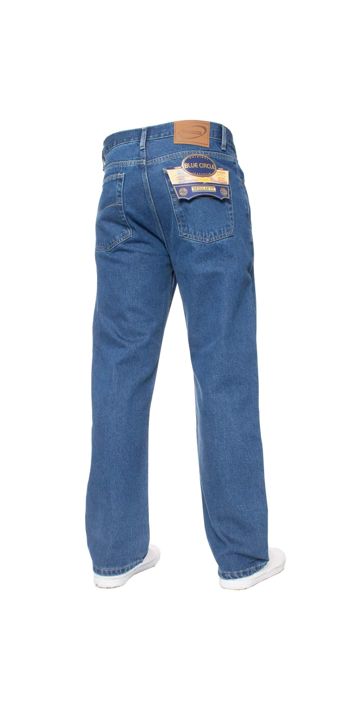 Mens Stone Wash Classic Denim Jeans BCB1 | Blue Circle Designer Menswear