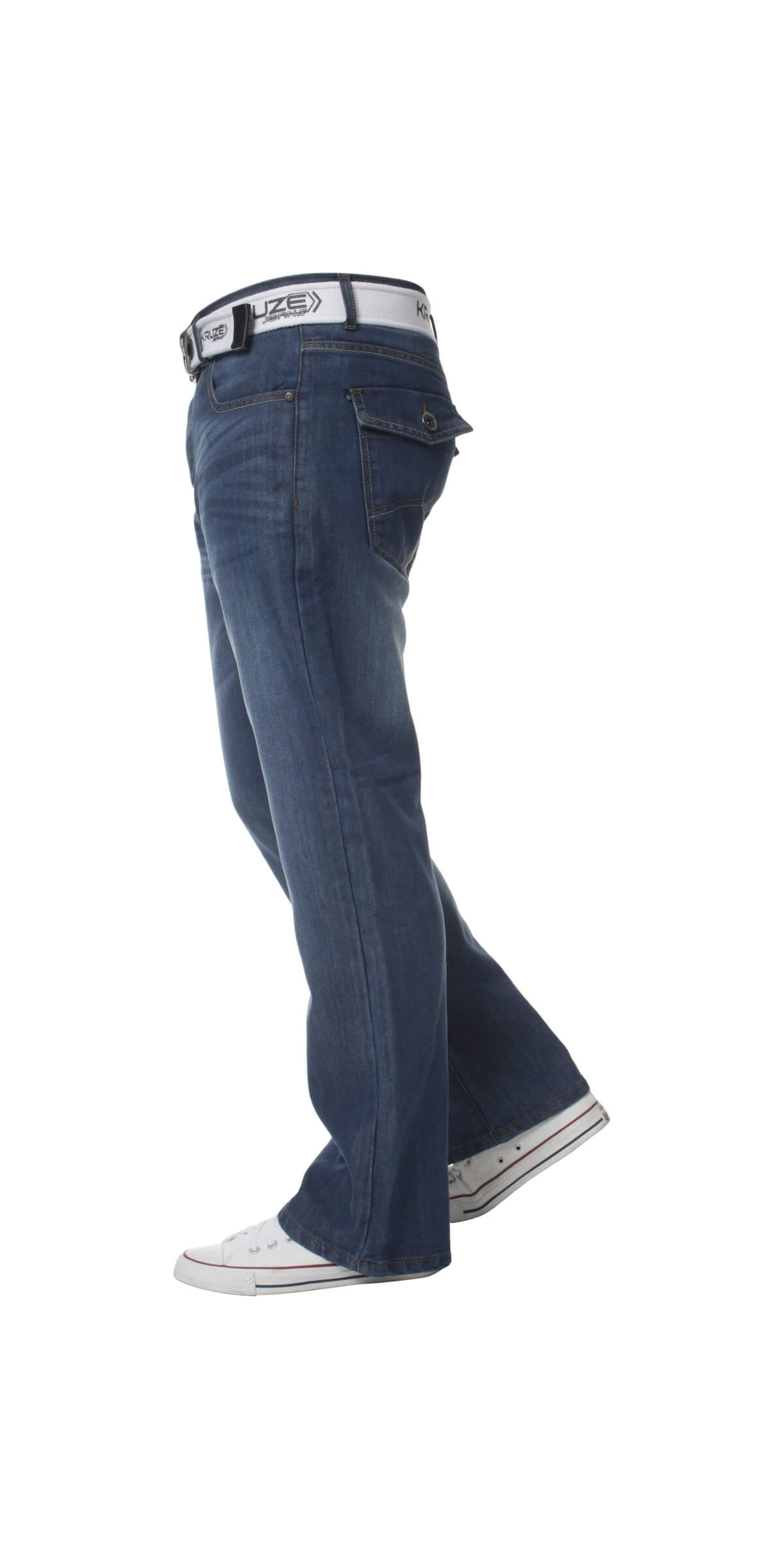 Kruze | Mens Bootcut Wide Leg Denim Jeans