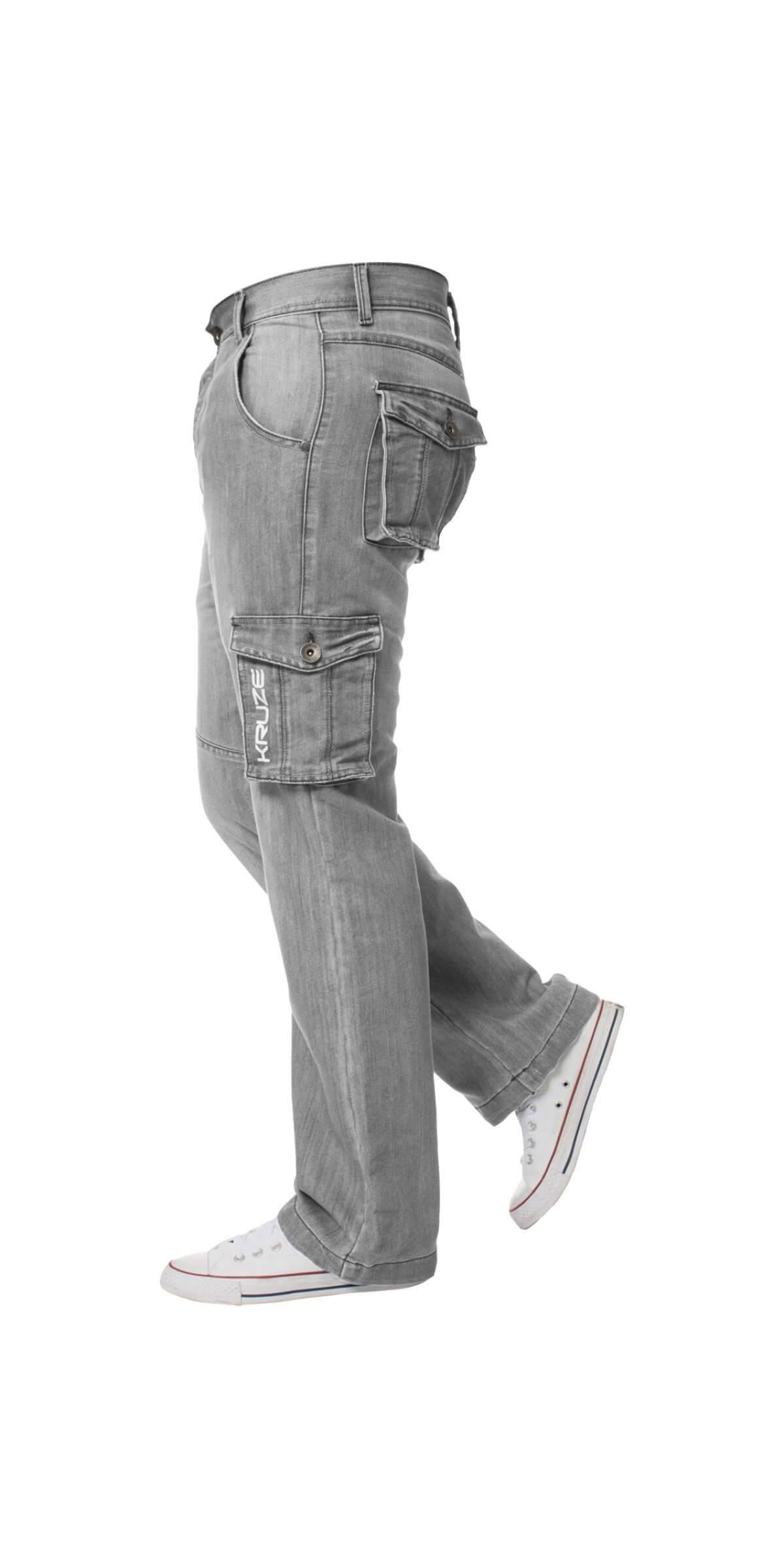 Kruze | Mens Cargo Combat Heavy Duty Denim Jeans