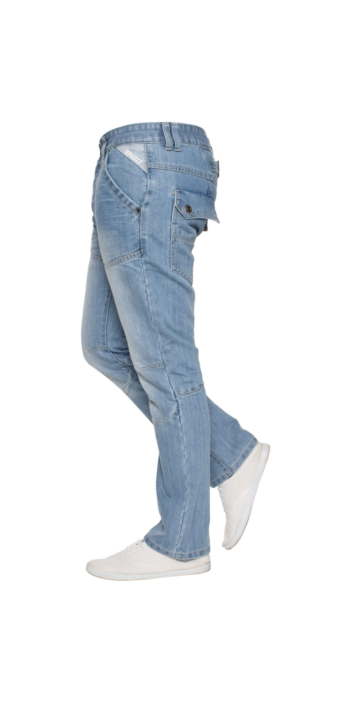 Mens Straight Fit Denim Jeans EZ243 Bleach | Enzo Designer Menswear